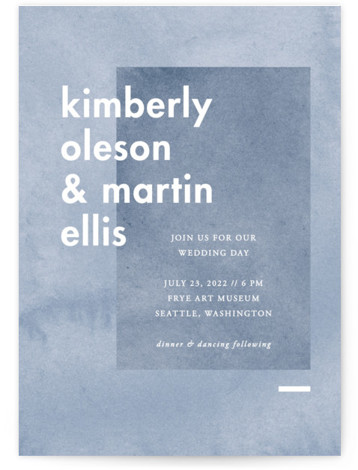 This is a portrait modern, painterly, blue Wedding Invitations by Liz Conley called Contemporary with Standard printing on Signature in Classic Flat Card format. This lovely wedding invitation design features bold blocks of color.