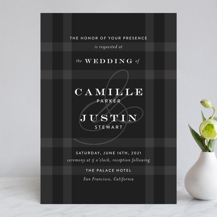 """Wedding Plaid"" - Preppy Wedding Invitations in Obsidian by Jill Means."