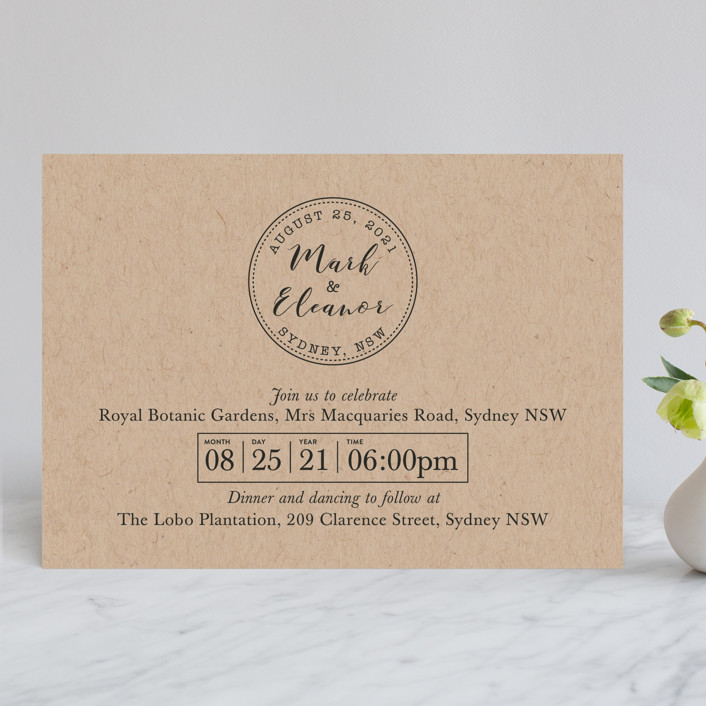 """Wedding Stamp"" - Wedding Invitations in Kraft by Hudson Meet Rose."