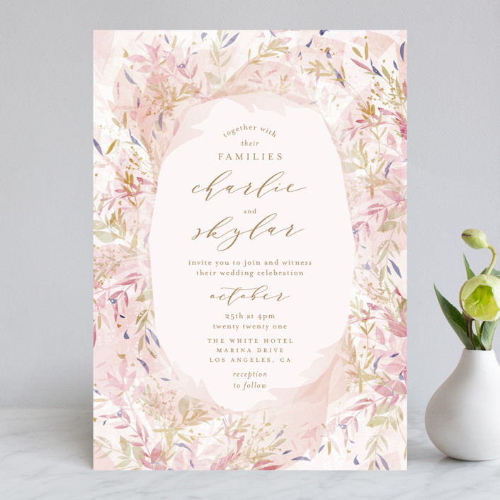 """Fantasy Floral Bride"" - Rustic Wedding Invitations in Blush by Phrosne Ras."