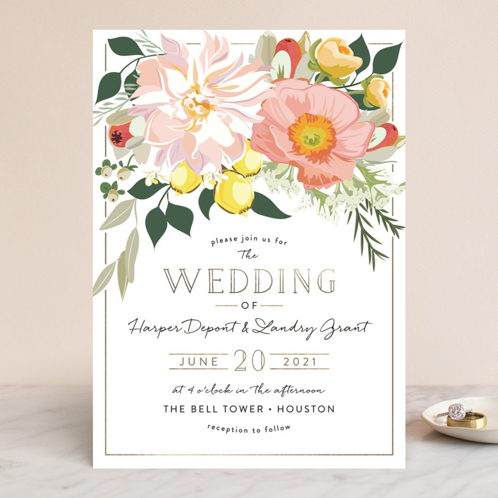 """Spring Blooms"" - Wedding Invitations in Blush by Susan Moyal."