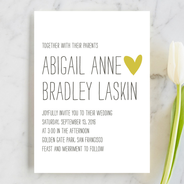 """Passing Notes"" - Whimsical & Funny Wedding Invitations in Mustard Seed by annie clark."