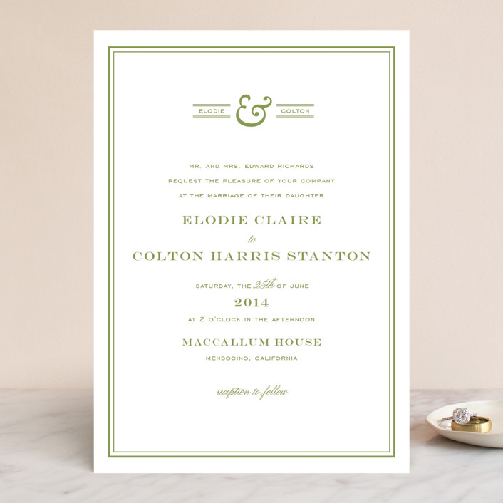 """Country Club"" - Simple, Preppy Wedding Invitations in Spring Green by annie clark."