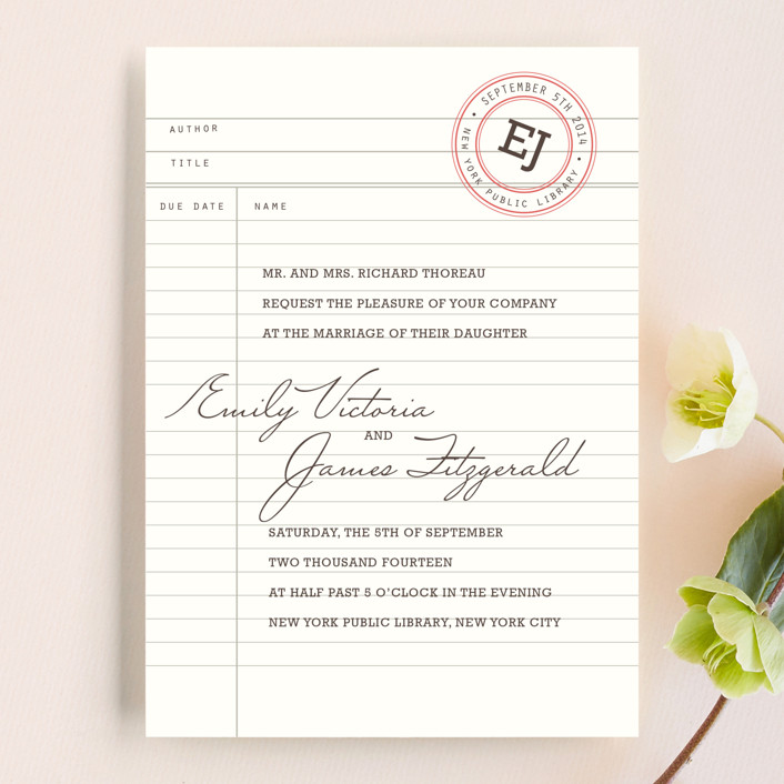 """Library"" - Vintage Wedding Invitations in Soft Ruby by annie clark."