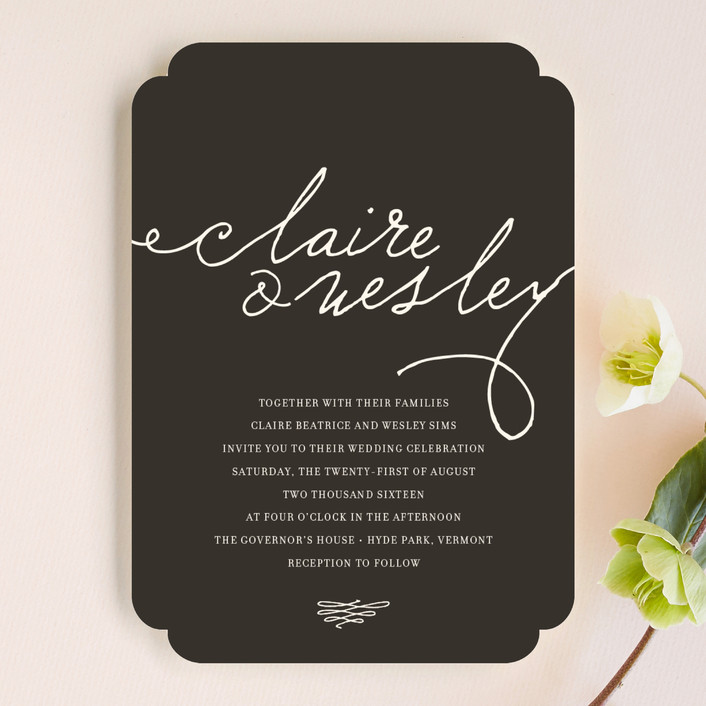 """Love Letter"" - Bold typographic, Classical Wedding Invitations in Espresso by annie clark."