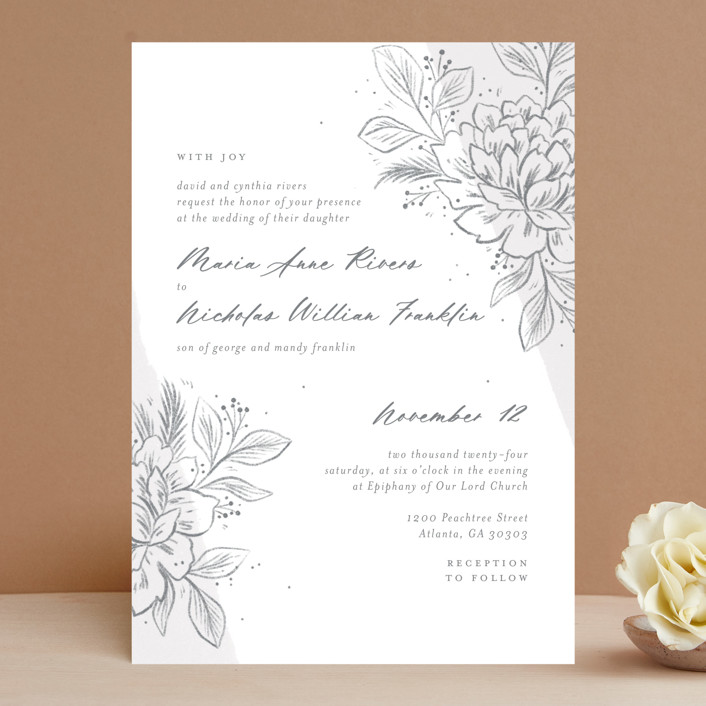 """""""Loving"""" - Wedding Invitations in Cloudy by Paper Raven Co.."""