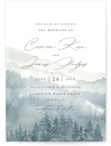 This is a blue wedding invitation by Helen Halik called Over the mountains with standard printing on signature in standard.