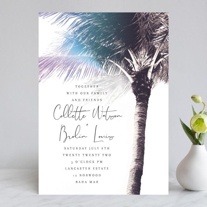 """Summer Palm"" - Wedding Invitations in Plum by Baumbirdy."