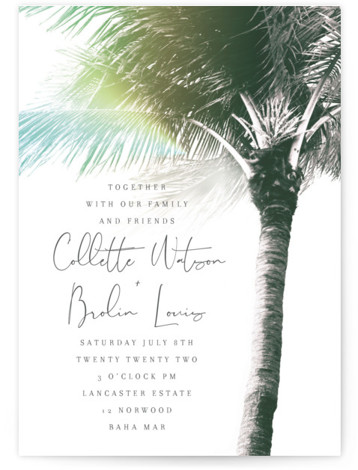 This is a blue wedding invitation by Baumbirdy called Summer Palm with standard printing on signature in standard.