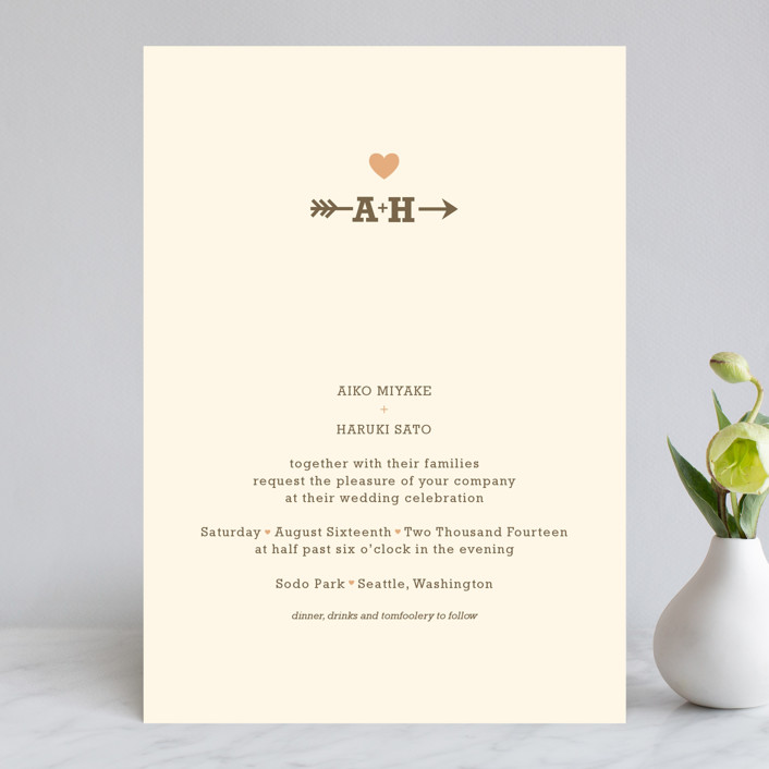 """""""Love Struck"""" - Whimsical & Funny Wedding Invitations in Pale Salmon by The Social Type."""