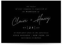 This is a black wedding invitation by Ana Sharpe called Gotham with standard printing on signature in standard.