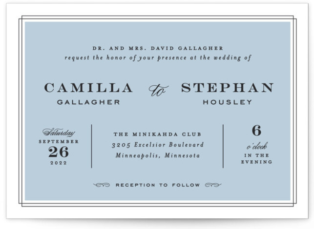 This is a landscape classic and formal, blue Wedding Invitations by Maddy Hague called Simply Framed with Standard printing on Signature in Classic Flat Card format. Classic typography and a simple frame come together in this timeless but stylish design. ...