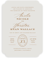 This is a beige wedding invitation by Jill Means called Date Stamp with standard printing on signature in standard.
