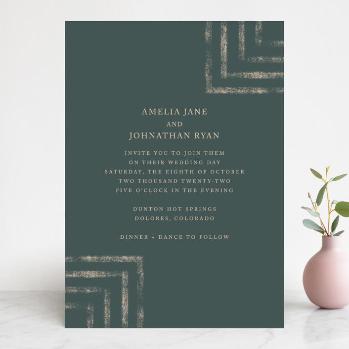 """Simply Modern"" - Modern Wedding Invitations in Jade by Something Noir."