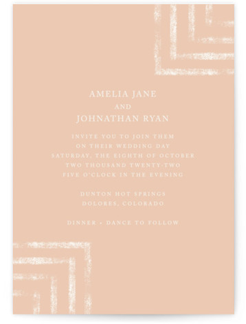 This is a portrait modern, painterly, pink Wedding Invitations by Something Noir called Simply Modern with Standard printing on Signature in Classic Flat Card format. A simple modern design that features a bold background color and subtle patterns.