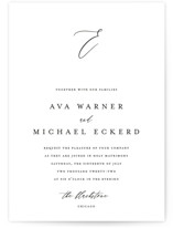 This is a black and white wedding invitation by Jennifer Postorino called Delicate with standard printing on signature in standard.