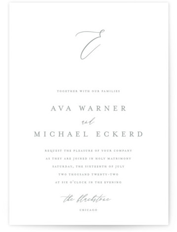 This is a portrait classic and formal, simple and minimalist, grey Wedding Invitations by Jennifer Postorino called Delicate with Standard printing on Signature in Classic Flat Card format. A sophisticated wedding invitation featuring romantic rolling calligraphy and classic type.