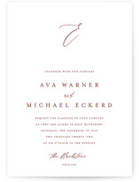This is a red wedding invitation by Jennifer Postorino called Delicate with standard printing on signature in standard.