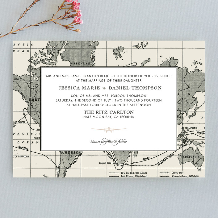 """Edenbridge"" - Destination, Vintage Wedding Invitations in Light Cream by Dauphine Press."