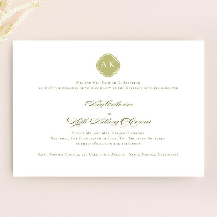 """""""Sloane"""" - Monogrammed, Elegant Wedding Invitations in Helios by Dauphine Press."""