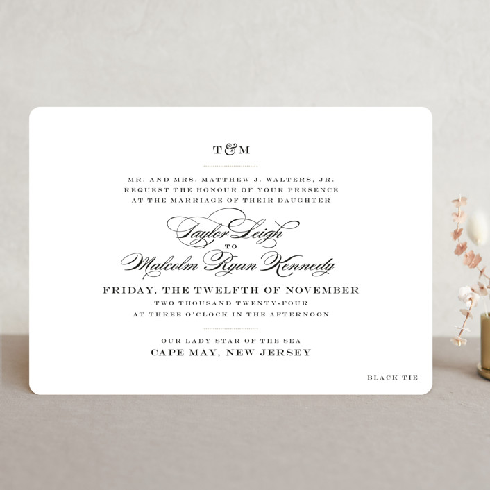 """Charming Go Lightly"" - Wedding Invitations in Crisp Black by danielleb."