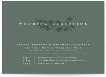 This is a green wedding invitation by Amy Kross called Falling Branch with standard printing on signature in standard.