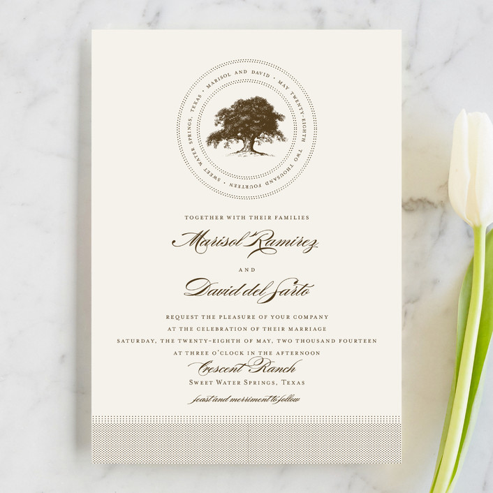 """Modern Crest"" - Rustic Wedding Invitations in Gravy by Milkmaid Press."