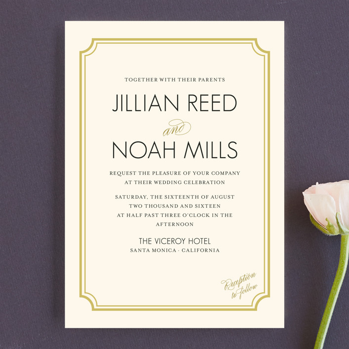 """Modern Classic"" - Modern Wedding Invitations in Golden Bear by annie clark."