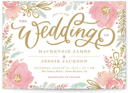 Floral Vignette Wedding Invitations