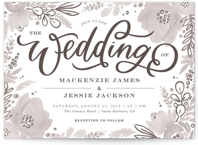This is a landscape white, grey Wedding Invitations by Kristen Smith called Floral Vignette with Standard printing on Signature in Classic Flat Card format. This watercolor floral embellished save the date is perfect for a garden wedding