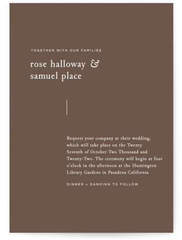 This is a portrait simple and minimalist, brown Wedding Invitations by Emmeline Bramble called A Dash of Delight with Standard printing on Signature in Classic Flat Card format. This refined, minimal wedding invitation highlights the elegance of the occasion with ...
