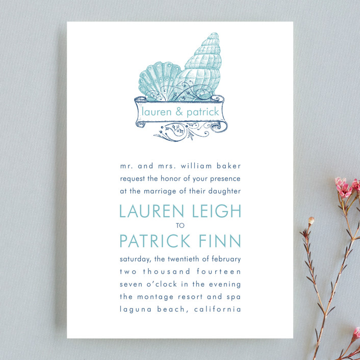 """By The Sea"" - Wedding Invitations in Columbia Blue by Splendid Press."