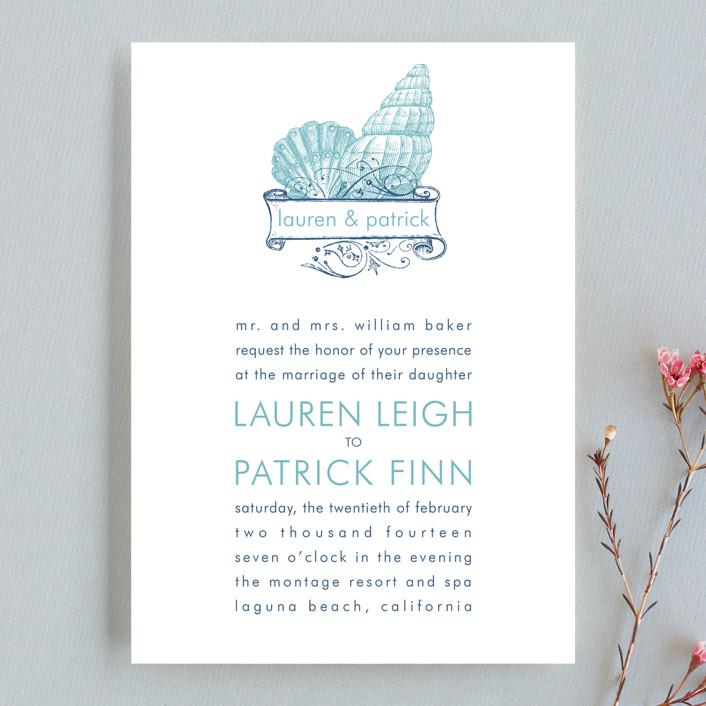 """Lauren"" - Beach Wedding Invitations in Columbia Blue by Splendid Press."