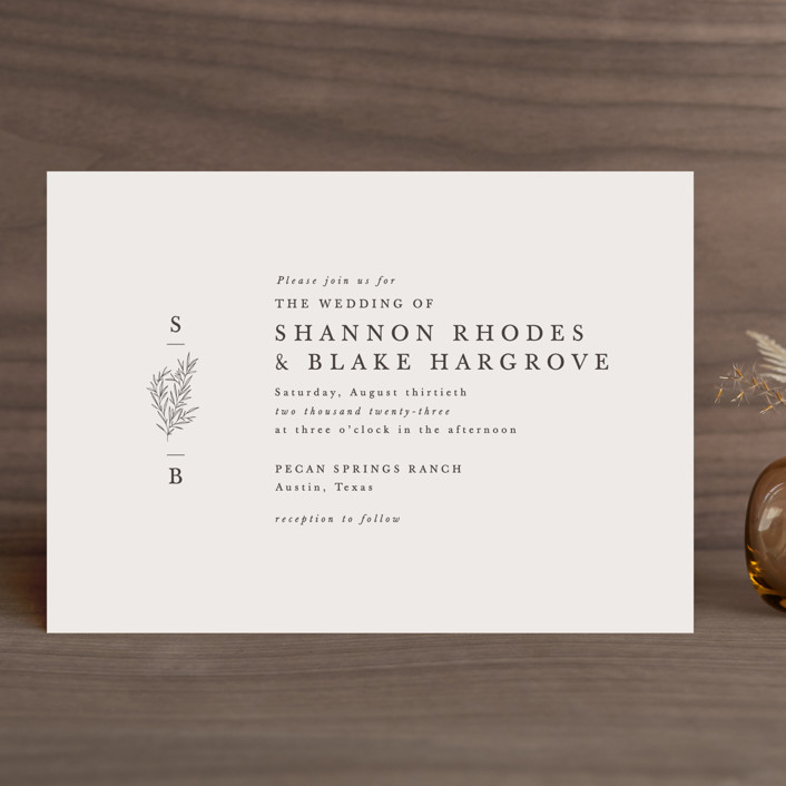 """""""Herb Garden"""" - Wedding Invitations in Taupe by Sarah Brown."""