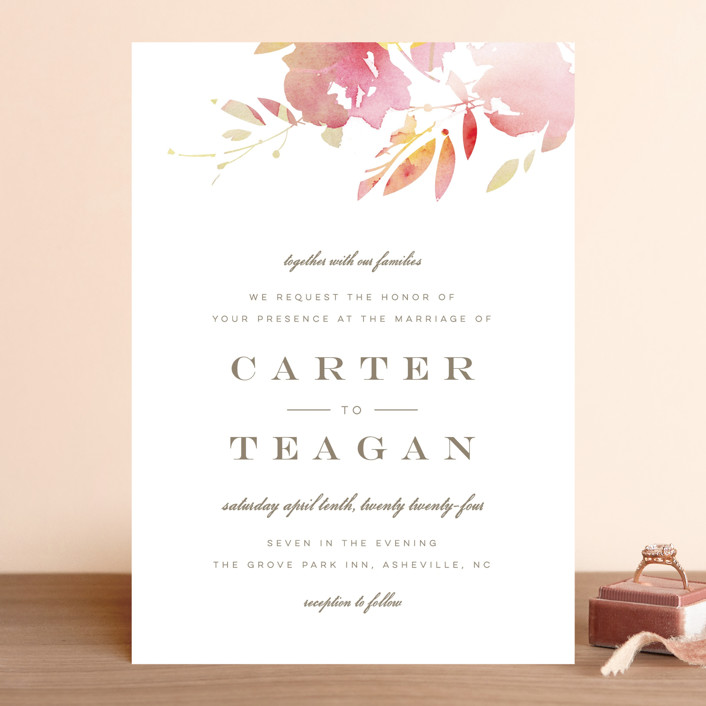 """Stately Florals"" - Wedding Invitations in Poppy by Lori Wemple."