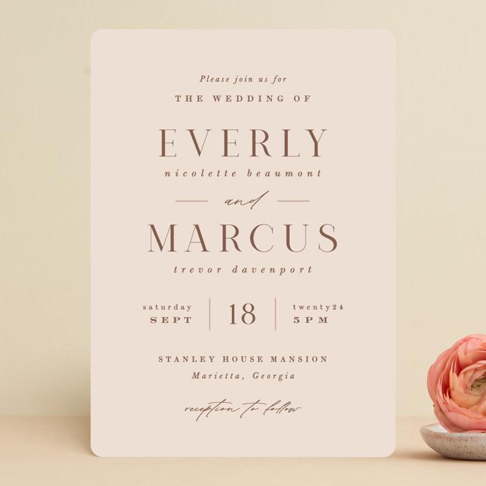 """Everly"" - Wedding Invitations in Desert Rose by Hooray Creative."