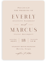 This is a pink wedding invitation by Hooray Creative called Everly with standard printing on signature in standard.