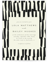 This is a black wedding invitation by Morgan Kendall called Stripes with standard printing on signature in standard.