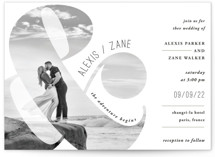 This is a white wedding invitation by Playground Prints called and the adventure begins with standard printing on signature in standard.