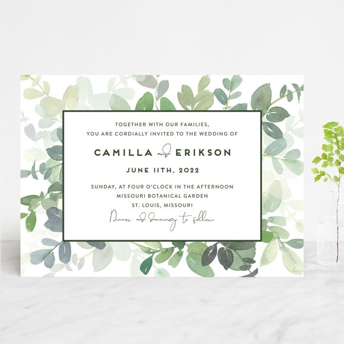 """Soft Eucalyptus"" - Wedding Invitations in Garden by Yao Cheng Design."