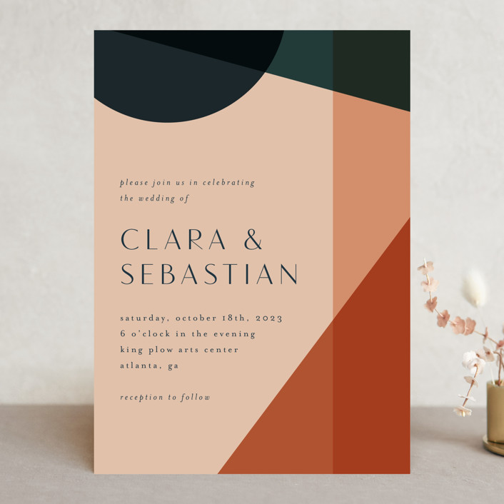 """Bold Geometric"" - Modern Wedding Invitations in Terracotta by Morgan Kendall."