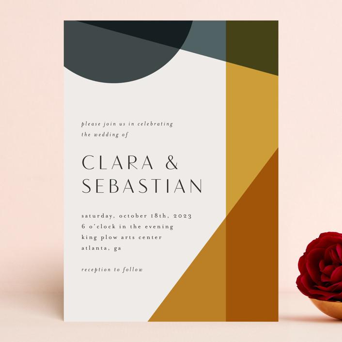 """Bold Geometric"" - Modern Wedding Invitations in Terracotta by Morgan Kendall."
