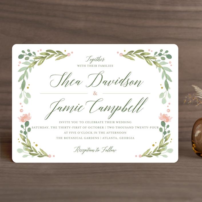 """""""Garden Glamour"""" - Wedding Invitations in Sage by Kristen Smith."""