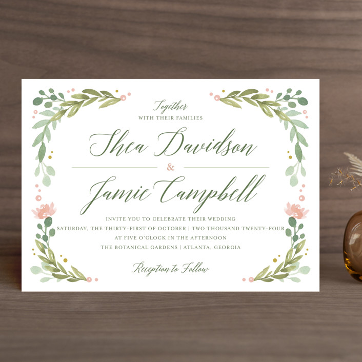"""Garden Glamour"" - Wedding Invitations in Sage by Kristen Smith."