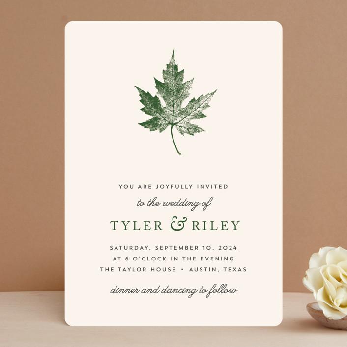 """Leaf Print"" - Rustic Wedding Invitations in Rust by Katharine Watson."