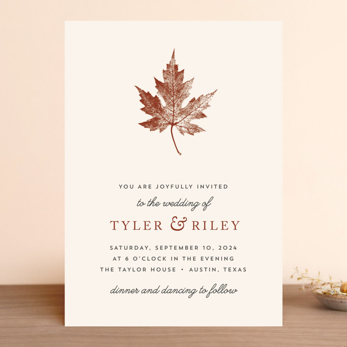 Leaf Print Rustic Wedding Invitations In Rust By Katharine Watson