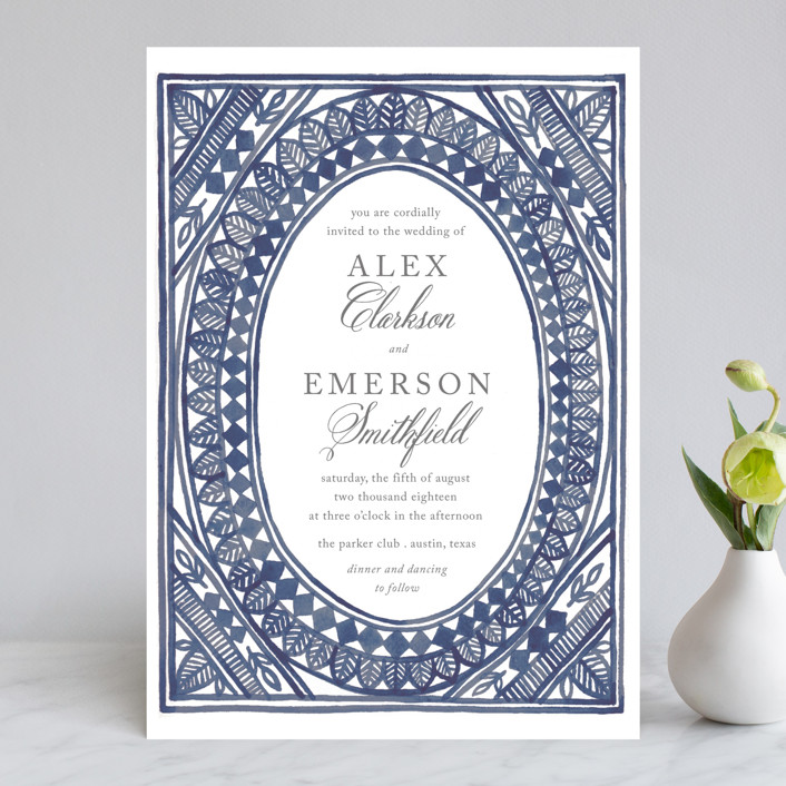 Ornate Watercolor Frame Wedding Invitations by Katharine Watson | Minted
