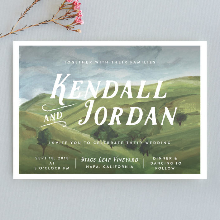 """""""Rolling Hills"""" - Wedding Invitations in Meadow by Shiny Penny Studio."""