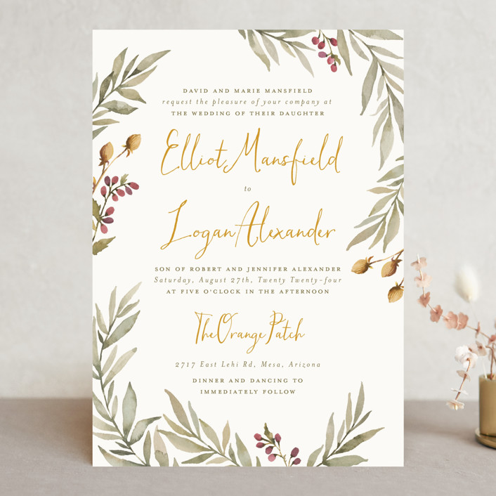 """""""Summer Love"""" - Rustic Wedding Invitations in Sunflower by Wildfield Paper Co.."""