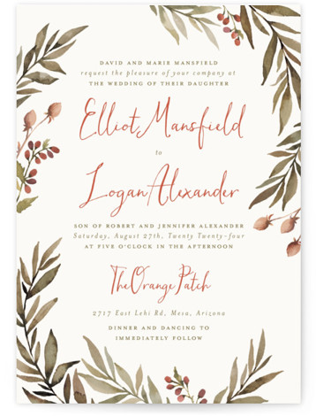 This is a portrait botanical, rustic, orange Wedding Invitations by Wildfield Paper Co. called Summer Love with Standard printing on Signature in Classic Flat Card format. Delicate and full branches come together to perfectly frame your wedding day details!